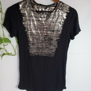Kit and Ace black metallic short sleeve t-shirt